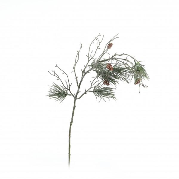 Kiefernzweig x 6, 76 cm gefrostet, mit Zäpfchen