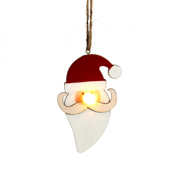 Santa m.LED-Nase zum Hängen 8x2,5x25 cm