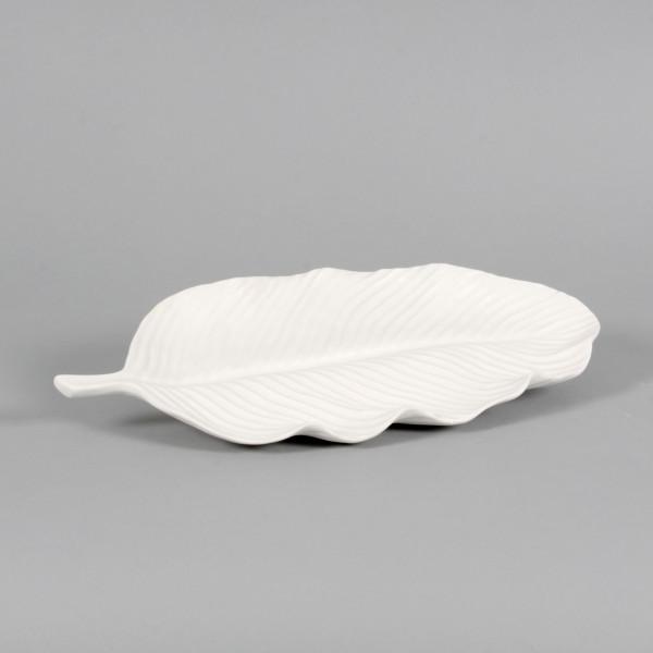 Schale Blatt Porzellan,weiss, 37x18x3 cm