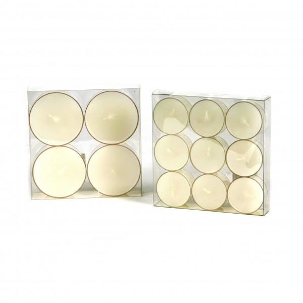 Teelicht, durchgefärbt, Box/9 St., weiß