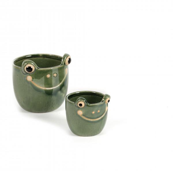 Keramik-Topf froggy m.smiley-face grün glasiert