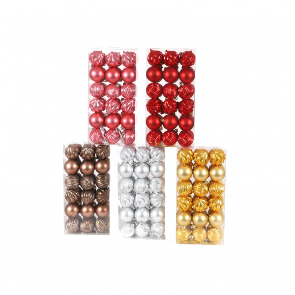 Kunststoffornamente Kugel/Zwiebel , 6 cm 36 St./PVC Box,matt/glitter/opal