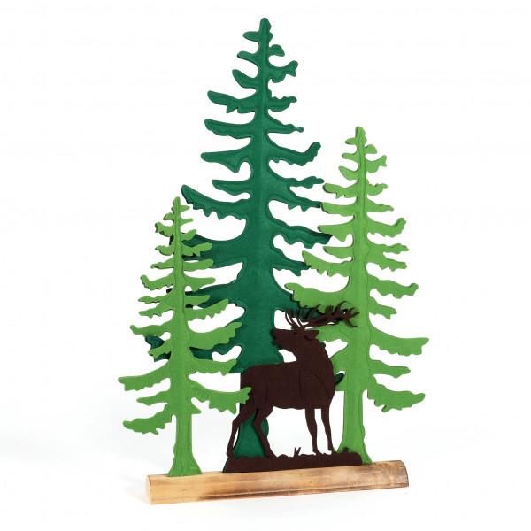 Waldszene Milo , Filz auf Holz Fuß 48x87x81cm