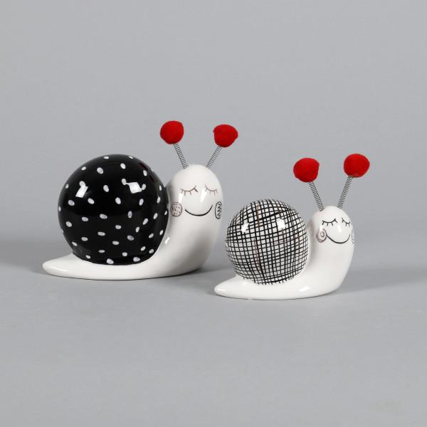Keramik Schnecke Carlos schwarz weiß