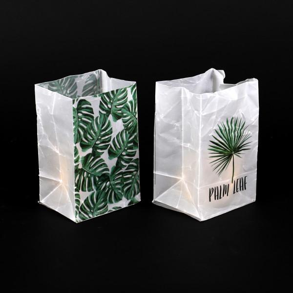 Windlichttüte Monstera Kunststoff mit Glas, 2 Mod.9x7x14,5 cm