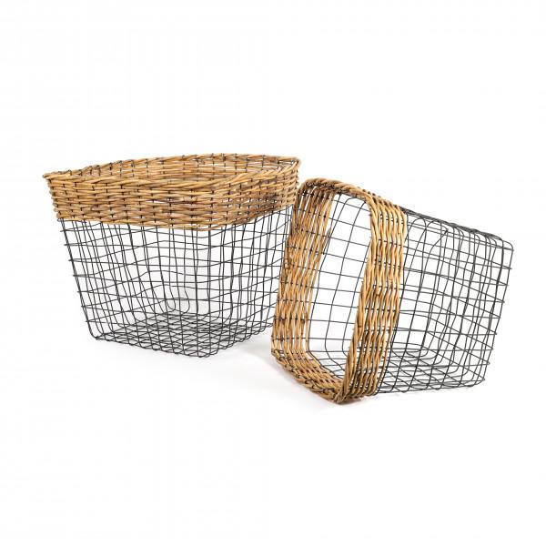 Draht-Korb,Topf quadratisch Set/2 grau m.Rattan Rand, 43xh.37 / 36xh.32 cm