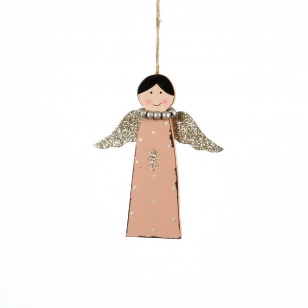 Engel Luisa z.hängen, Holz, ro sa, 26x13 cm