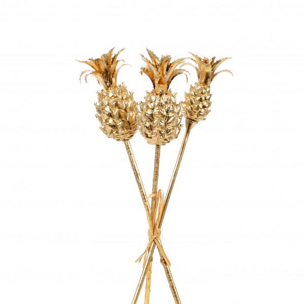 Ananas klein am Stab, 30 cm, gold Bund/3 St. sort.