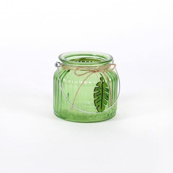 Windlicht Monstera Glas mit Metallbügel, 11x10 cm, grün
