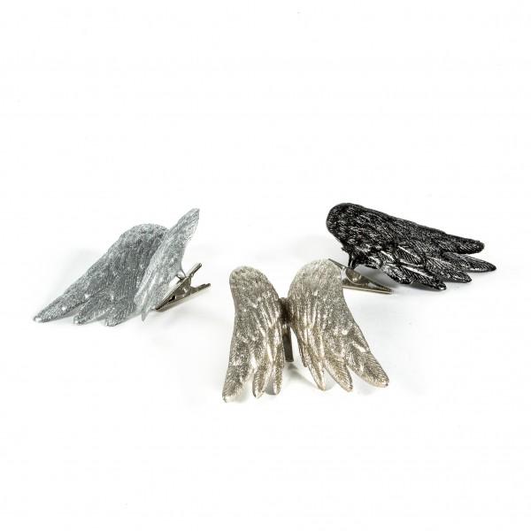 Engelflügel mit Clip, 10 cm 3 Farben sort. grau