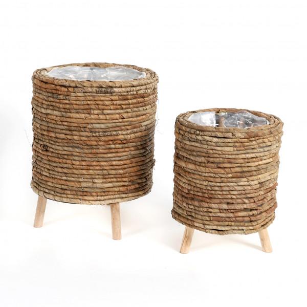 Schilfgras-Topf rund auf 3 Holzfüßen natur