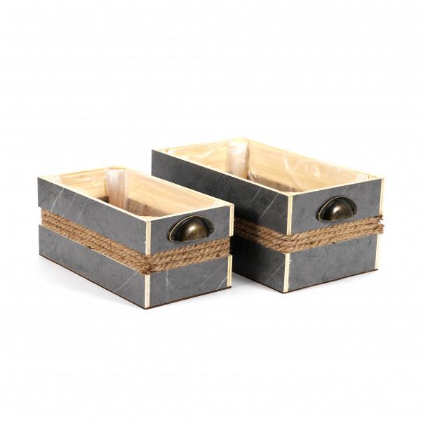 Holz-Pflanzkasten mit Tau/Griffen rechteckig