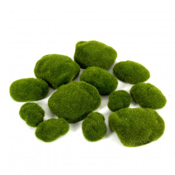 Moossteine, grün, Btl/12 St. sort.