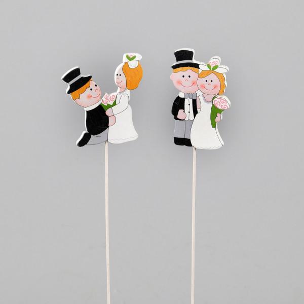 Hochzeitspaar am Pick 8x5x28 cm 20 Stk im Beutel