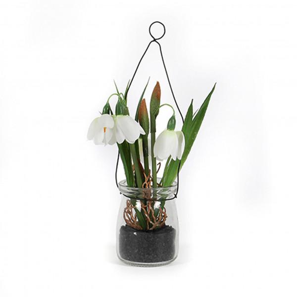 Schneeglöckchen im Glas z.hängen, 22 cm, weiß