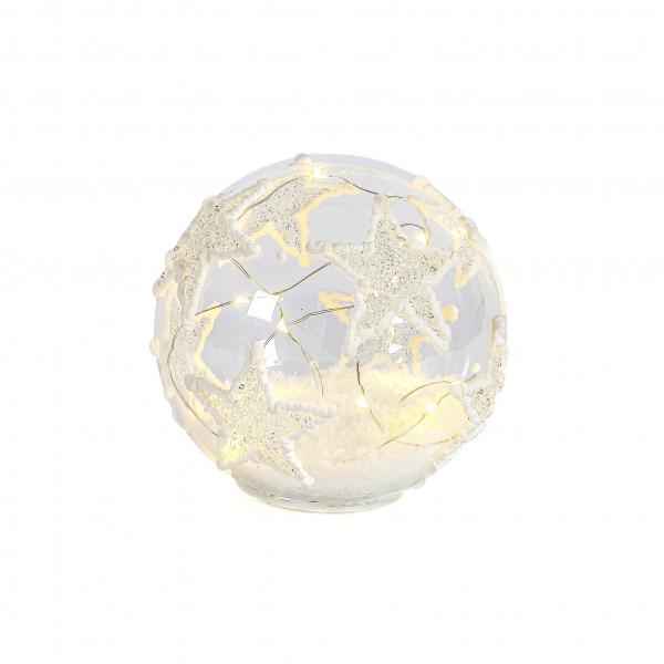 LED Kugel Schneestern stehend, 15 cm, Glas, Batterie m Timer 6/18h