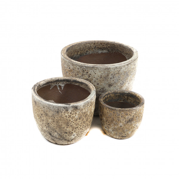 Terracotta Pflanz-Topf,Set/3,cappuccino Reaktionsglasur,D21xH18/D30xH24/D39xH31