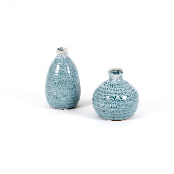 Keramik-Mini-Vasen 2 Mod.sort. 7.5x12.5 / 9,5x10cm, hell-blau glasiert