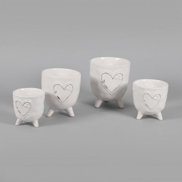 Keramik Topf Lisa mit Herz-Design auf Fuß, weiß glasiert