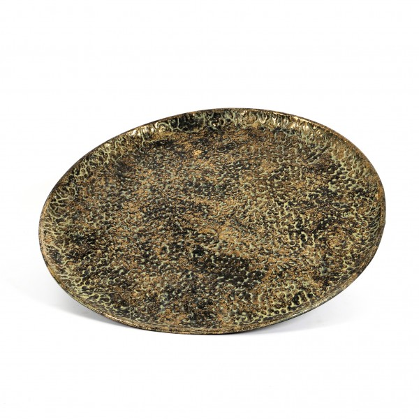 Metall Teller Peer flach, 47xh5cm gold-rustikal