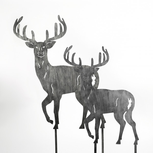 Stecker Hirsch Metall, schwarz-gold brushed