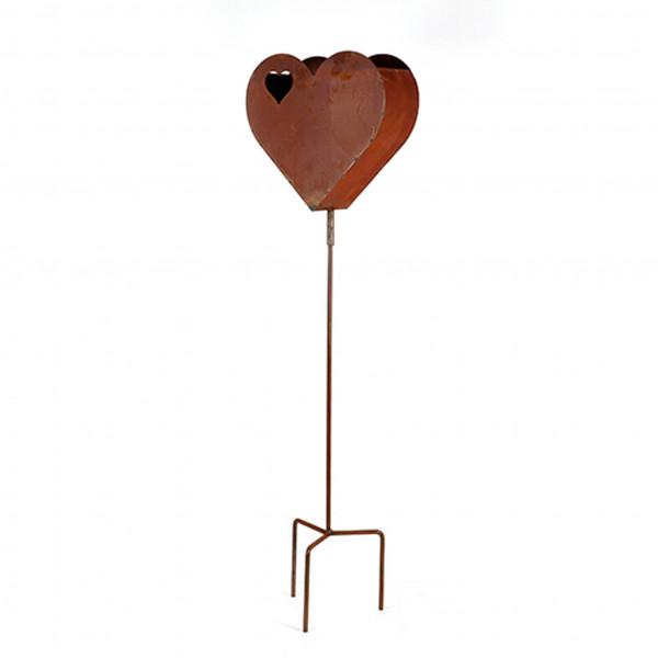 Herz Love zum Bepflanzen 35,5x13x118cm zum Stecken auf Dreiarm rost