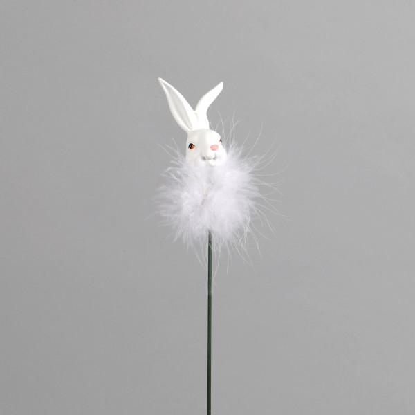 Poly-Hasenstecker mit Fellkragen 6x4cm, weiß