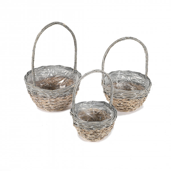 Bügel-Korb, Rattan/Corn-Leaf-geflecht Set/3, natur