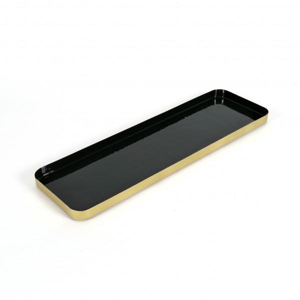 Tray Delos Metall,Smaragdgrün-Messing, 50x15x2,5 cm