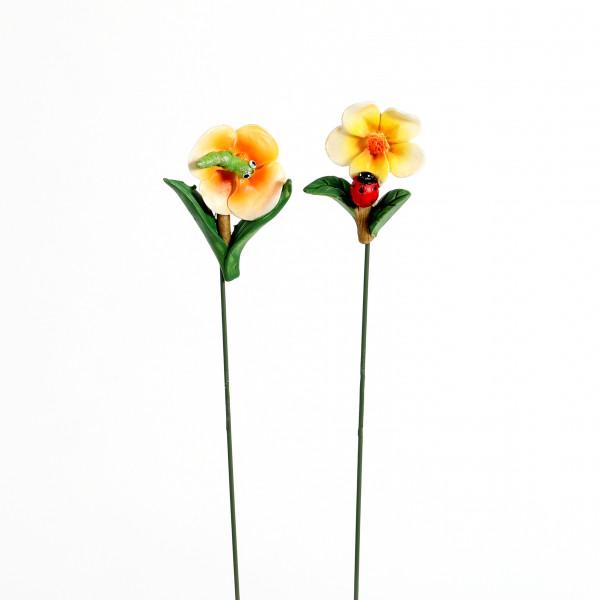 Poly Blüten-Stecker, m.Käfer&Raupe 2 Mod.sort. 4x1.5x22cm
