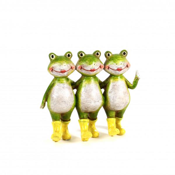 Poly-Frosch Gruppe best friends mit gelben Gummi-Stiefeln, 14x6x13cm