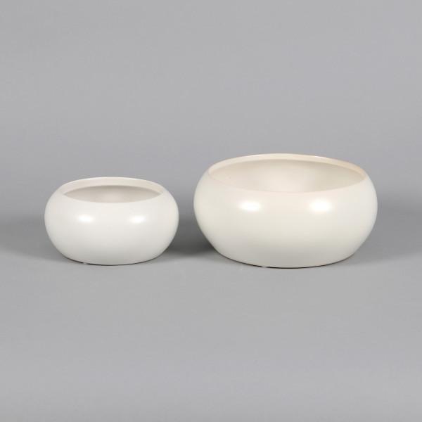 Keramik Ufo Schale, matt weiß glasiert