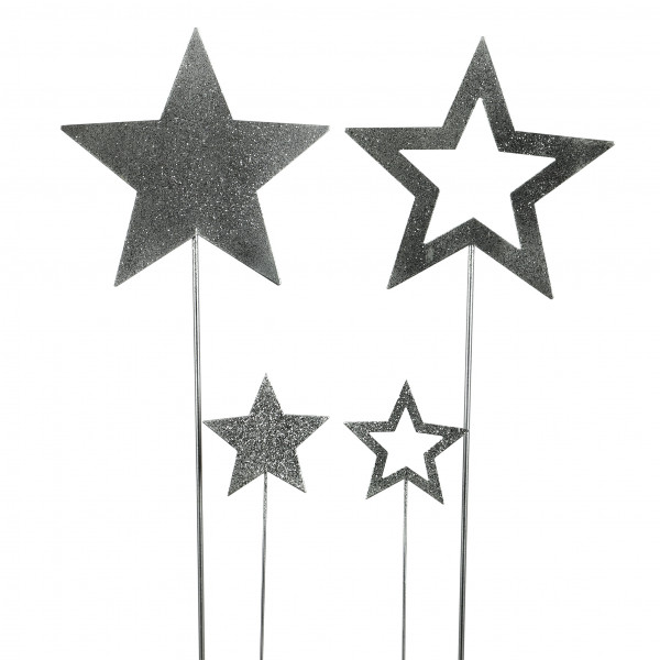 Metall-Stern am Stab, 2 Mod.sortiert