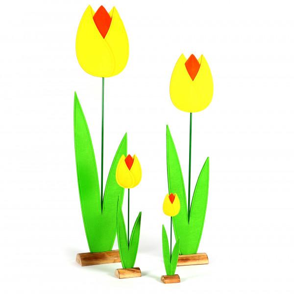 Tulpe, Filz auf Holzbase, gelb-orange