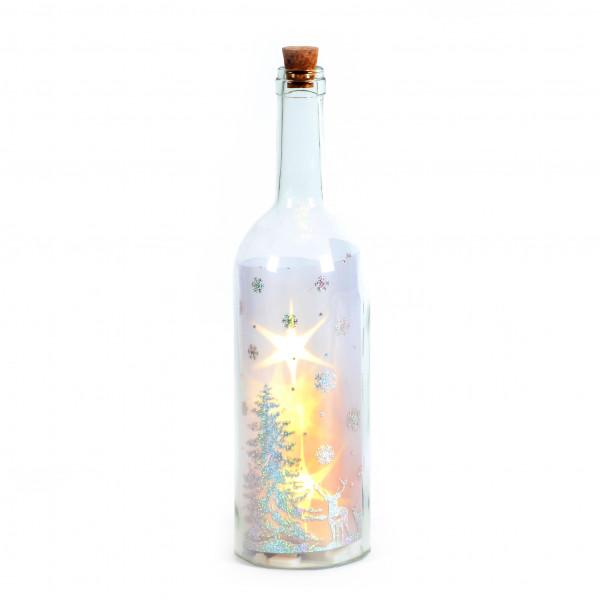 Glasflasche mit 5 LED D 9x34cm Winterwonderland Timer 6/18