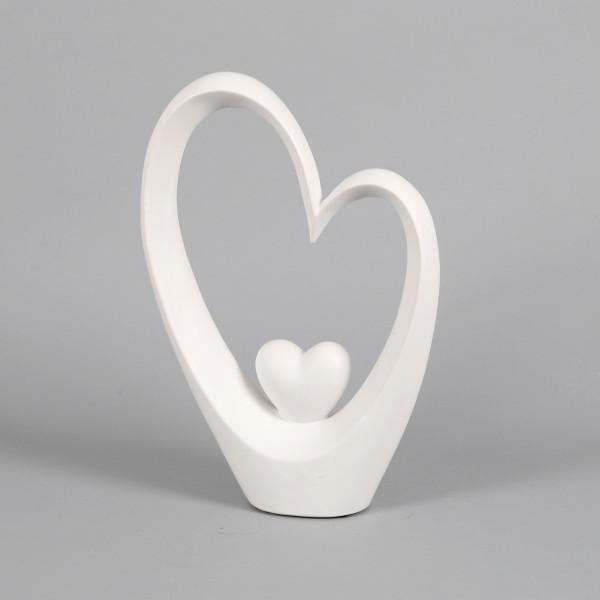 Keramik Deko-Herz stehend, geschwungen weiß matt, 26x9x37 cm
