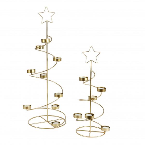 Metall Spiral- Baum mit 6 Teelicht- Halterungen, gold, 17xh50 cm