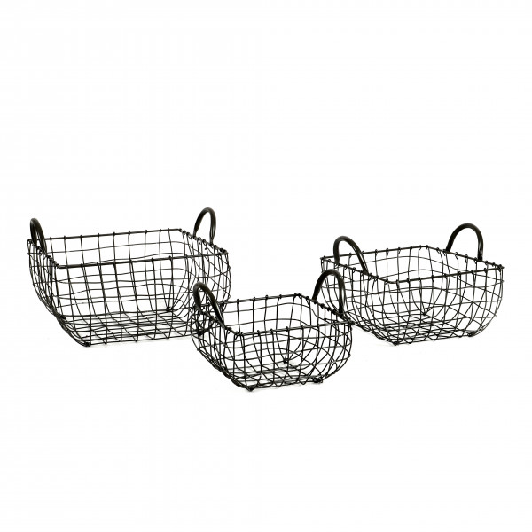 Draht-Korb, Schale quadrat., grau Set/3 31xh22 / 25xh.20 / 20xh.16 cm