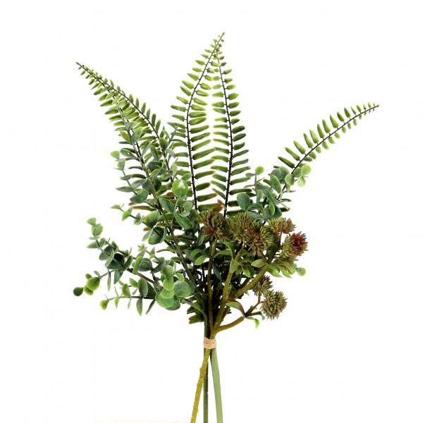 Sedum/Farn/Eucalyptus-Bouquet 42cm, grün