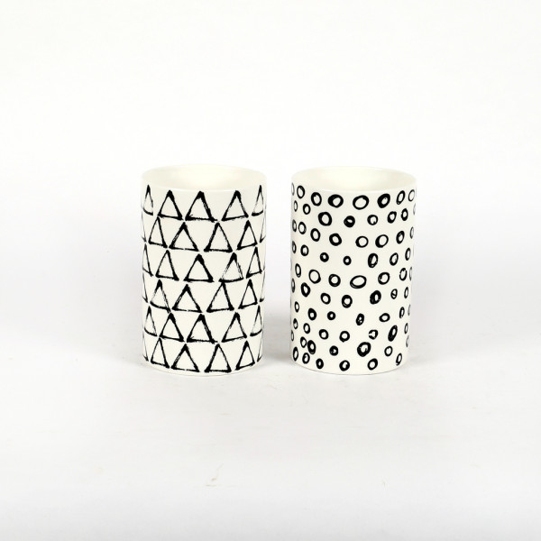 Keramik Zylinder-Vase, black&white 2 Mod.sort. 14xh.21cm
