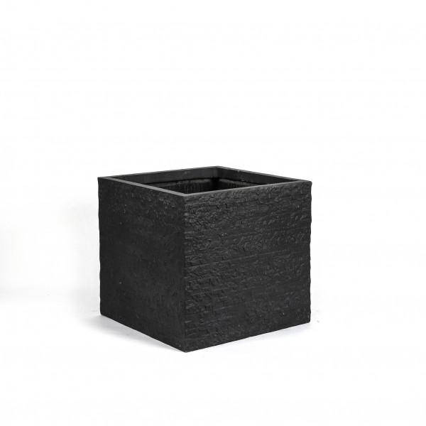 Fibrestone Pflanzwürfel Schieferoptik dk grau, 40x40h37cm