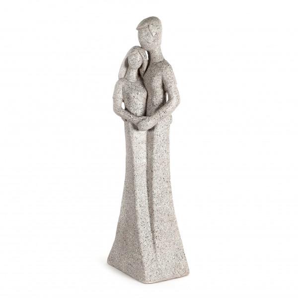 Magnesia Liebes -Paar stehend terrazzo grau, 28x30xh.119 cm