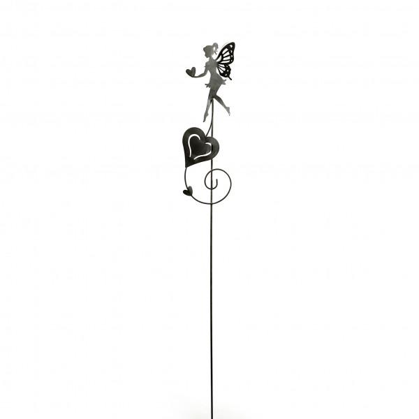 Gartenstecker Elfe Metall, grau 16x16x100 cm