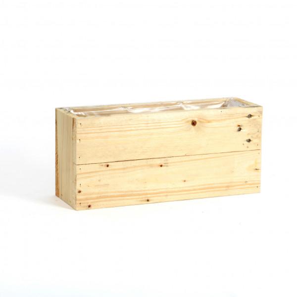 Holz Pflanzkasten rechteckig 40x13xh.19cm, antik