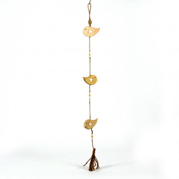 Vogel Melody Girlande z.hängen Mangoholz natur, 95x10 cm