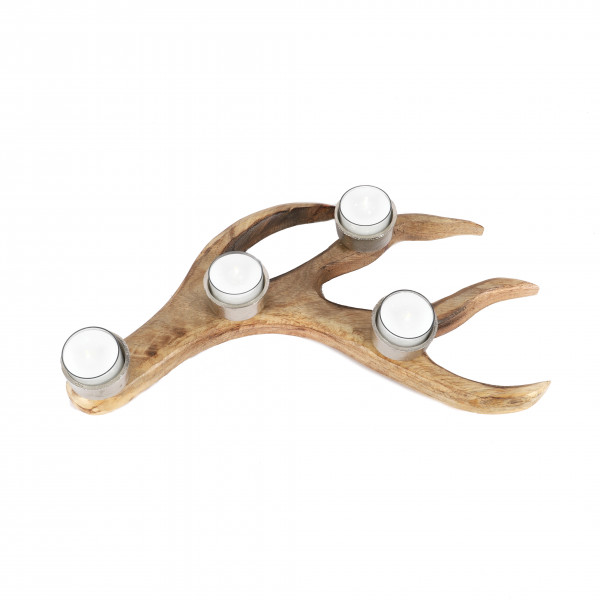 Teelichthalter Hirschgeweih x 4, Holz/Metall, 36x28x6 cm, natur