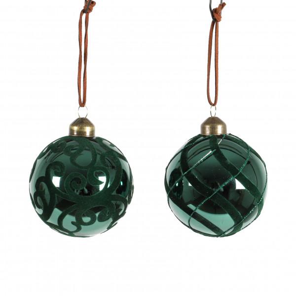 Baumkugel Ornament Glas beflockt, 2 Modelle, 8 cm, dk grün
