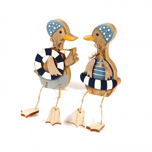 Ente, Holz, mit Badekappe/Schwimmring Kantenhocker,blau-weiß,2 Mod.10x25x2 cm