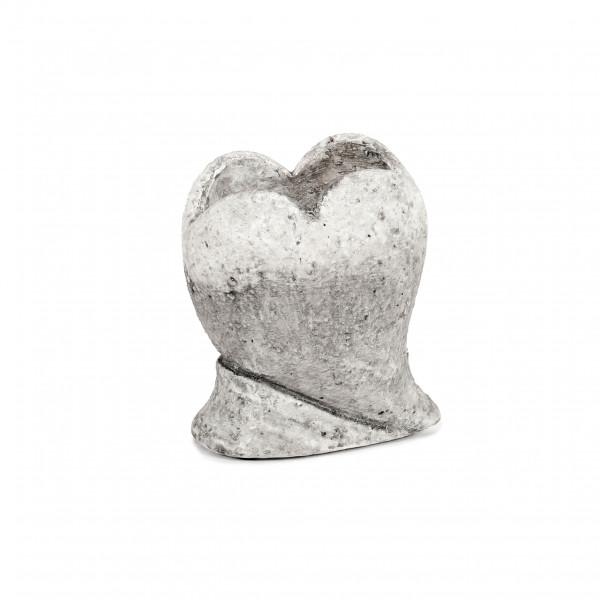 Keramik Herz-Vase Rustiko auf Sockel 13x10xh15cm, antic-white