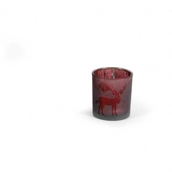 Teelicht 7x8 cm Hirschmotiv verspiegelt cassis beere